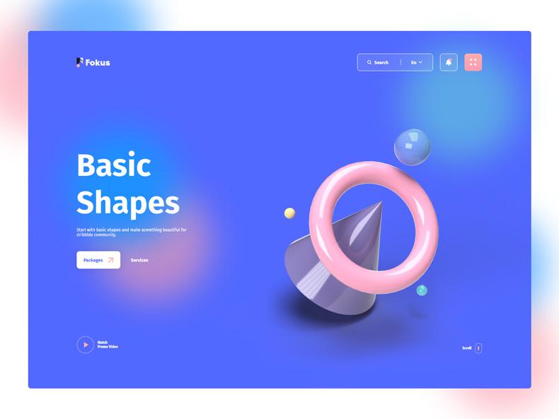نمونه طراحی UI سه بعدی